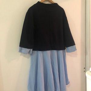 Zara Oversized Sweatshirt Shirt Tail Combo Dress